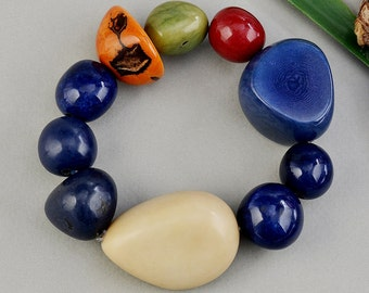 Large tagua bracelet, navy blue bracelet, elastic bangle, tribal jewelry, big beads bracelet, vegetable ivory cuff, chunky boho bracelet.