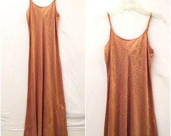 Vintage Orange & Pink Iridescent Print Maxi Slip Dress