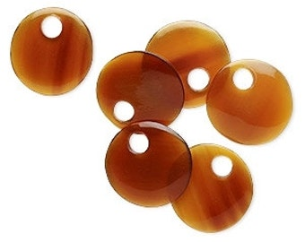 Horn Beads, Natural Beads, Round Flat, Amber Brown, Rustic, Organic, 25mm, 2 each, D906