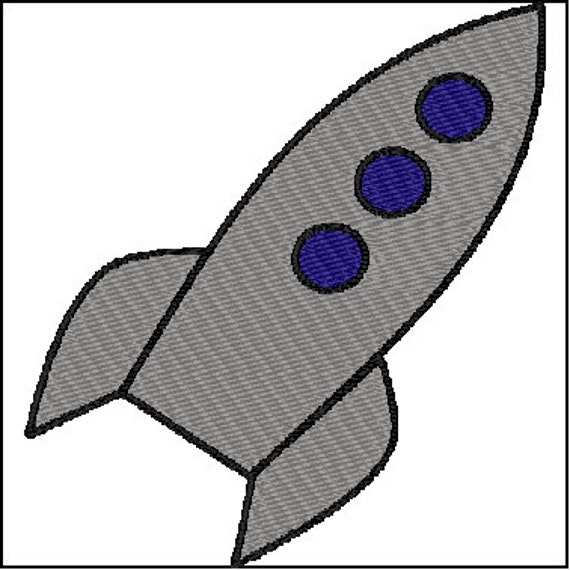 Rocketship space embroidery design for Space embroidery designs