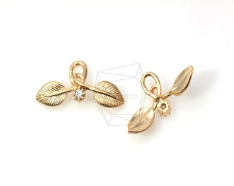 JS01214/6Pcs-Cz Cubic Leaf / 10mm x 22mm /Matte Gold Plated over brass