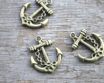 15pcs--Anchor charms, Antique Bronze Anchor Charm Pendants 20x24mm D0890