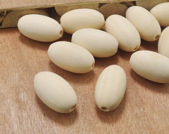 Natural Oval Wooden beads,50pcs, 29x19mm Oval Wooden Beads,Unfinished Wood Beads