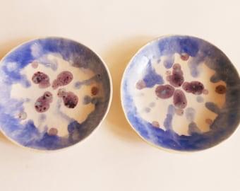 Shallow pottery dessert bowls set of 2 organic shaped modern ceramic bowls with dark lavender blue glaze