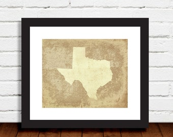 State of Texas Print Weathered Rustic Brown Blue Gray Wall Art Home Decor