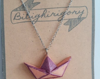 Necklace origami boat
