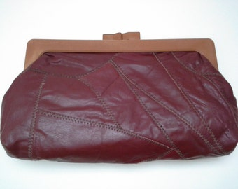 Burgundy Clutch, 1970s Leather Clutch, Leather Clutch, Patchwork Clutch, Maroon Clutch, Mahogony Clutch, Bordeaux Clutch,1970s Purse