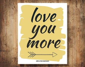 Love You More - Black and Gold - Canvas Wall Decor - Canvas Wall Art - Love Canvas - Canvas Art - Bedroom Art