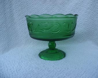 Green Glass O. E. Brody Compote #M6000 Made in Cleveland, Ohio.