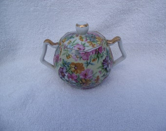 Small Flowers and Gold Sugar Bowl Possibly Pre WWII Japan