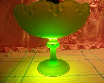 Indiana Glass with Large Green satin Glass Compote or Fruit Bowl