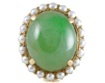 Jade ring Vintage Victorian Jadeite Jade pearls 14 karat gold   all natural   GIA certificate   all natural green jadeite jade