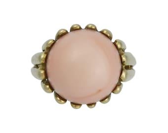 Vintage 18K Gold Angel Skin Coral Modernist Ring