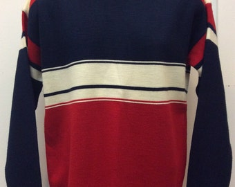 Vtg 70s 80s JC Penney Ski Sweater L Striped Red White Blue