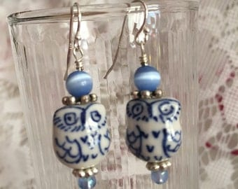 Dark Blue Owl Dangle Earrings