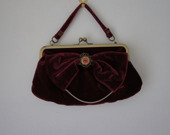 Beautiful Upcyled Deep Red Velvet Bag With Ornate Framed Rose Button And Chain Detail
