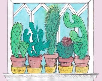 Cactus window watercolour Illustration
