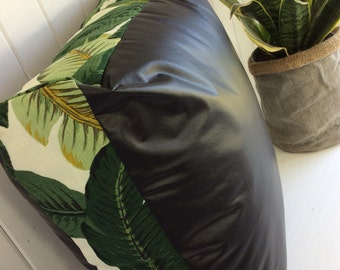 Tropical palms and faux leather indoor/outdoor floor cushion