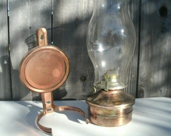 Vintage Hurricane Lamp with Wall Holder