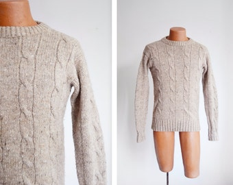 """80s Heavy Brown Wool Sweater - 40"""" Chest"""