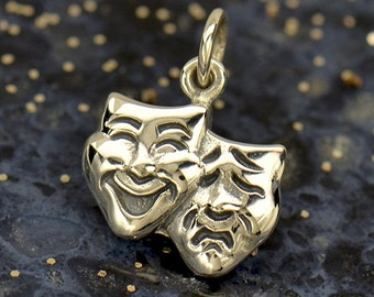 Sterling Silver, Theatre Mask, Mask Charm, Comedy and Tragedy, Comedy Mask, Tragedy Mask, Silver Theatre Mask, Silver Mask Charm