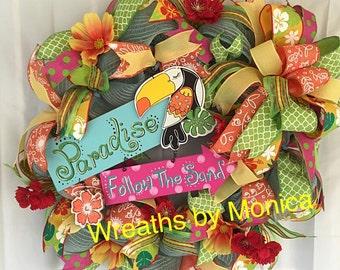 Deco Mesh Summer Wreath, colorful wreath, toucan bird wreath, paradise wreath, follow the sand wreath, lightblue mesh with yellow, summer