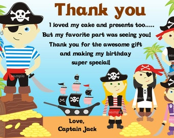 Pirate thank you card, pirate birthday thank you card, Siblings thank you card, twins thank you card-Personalized-DIGITAL FILE