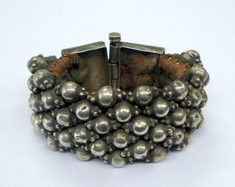 vintage antique ethnic tribal old silver beads bracelet bangle cuff india