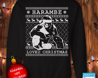 Harambe Loved Christmas | Harambe Sweater | Ugly Christmas Sweater- D11
