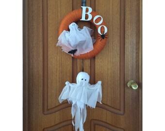 Handmade Ghostly Halloween Wreath