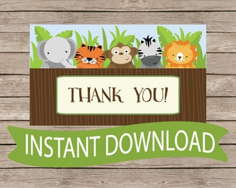 Safari Thank You Baby Shower Favor Tag -Jungle Animals, Zoo Animals, Monkey, Giraffe, Neutral Printable Download B146