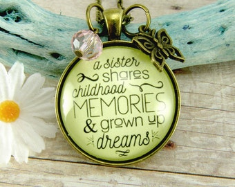 A Sister Shares Childhood Memories Bronze Retro Style Shabby Pendant Necklace Sisterhood Jewelry Butterfly Charm Gift For Her Unique Jewelry