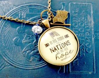 Patriotic Scripture Jewelry In His Name the Nations Will Put Their Hope Biblical Pendant Pray Necklace American Flag Charm Presidential