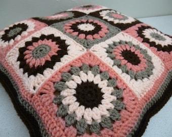 Ready to ship, Vintage Retro, Handmade Granny Squares, Crochet Cushion/Pillow, 12 inches,