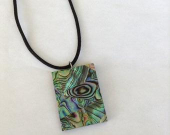 Rectangle Paua Shell Necklace