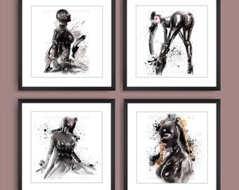 Fetish art, BDSM art painting, Sexy Bondage, nude art, Set of 4 prints, Choose any 4 same size art prints, gift for man, poster set, 3556