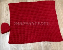 Red Baby blanket and baby cap, baby's first christmas red afghan blanket and cap, crochet waffle pattern,