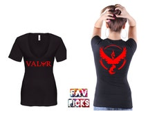 VALOR TSHIRT, team Valor logo women's T-shirt, both sides, ladies, sexy deep V-neck, 100% cotton, Red Team, Pokemon, gift, front and back