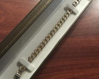 Sterling Silver curb link mens' bracelet