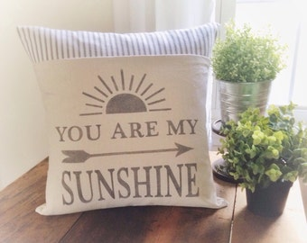 You Are My Sunshine Pillow Cover, Summer Decor