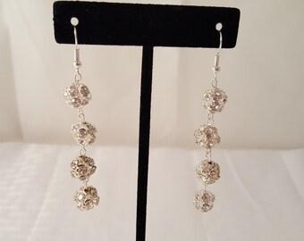 Silver & Crystal Earrings - Women's Crystal Earrings- Women's Dangle Earrings - Crystal Dangle Earrings - Pink Earrings - Clear Crystal