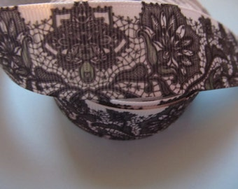 "Black and White Floral Printed Lace Detailing Grosgrain Ribbon 1"" 25mm"
