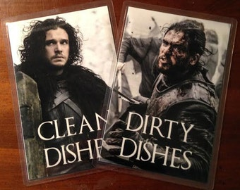 Jon Snow | Game of Thrones Reversible Dishwasher Magnet | Geek Kitchen | Clean Dirty Magnet | Game of Thrones