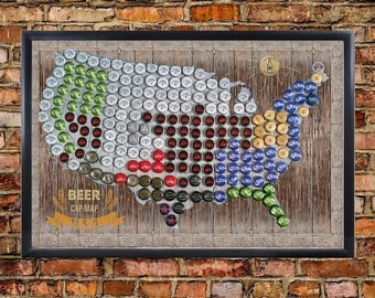 Framed Magnetic Beer Cap Map Of The USA United States US - Us beer cap map