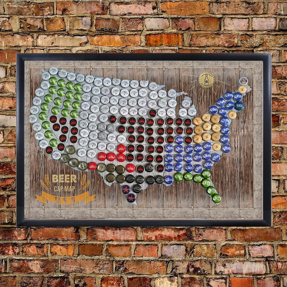 Framed Magnetic Beer Cap Map Of The USA United States US - Magnetic map of us