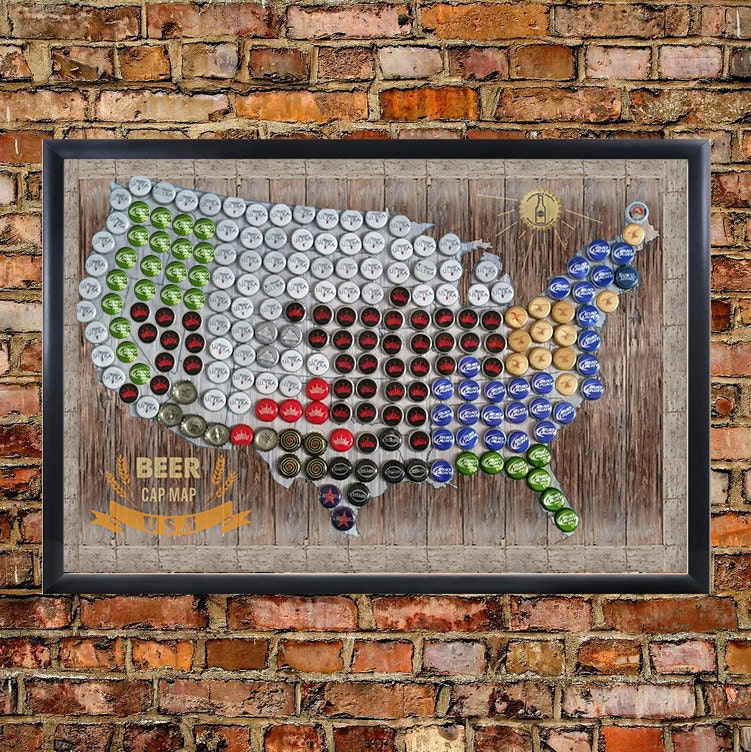 Framed Magnetic Beer Cap Map Of The USA United States US - Us beer map wall art
