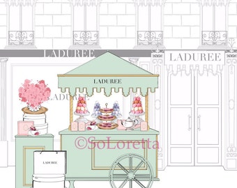 Laduree art, macaroon art, paris art print, girl wall decor, girl wall art, fashion art, paris art, laduree store art, pink wall art
