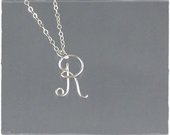 Initial R Wire Word Pendant Necklace Cursive