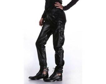 Black Leather Pants, Faux Leather Pants, Women Pants, Latex Pants, Black Trousers, Loose Pants, Casual Pants, Biker Pants, Leather Trousers