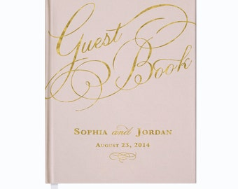 Blush and Gold Wedding Guest Book • Custom Guest Book • Custom Calligraphy